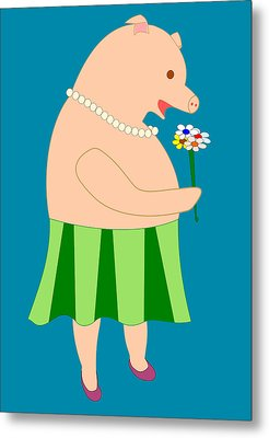 Lady Pig Smelling Flower Metal Print by John Orsbun