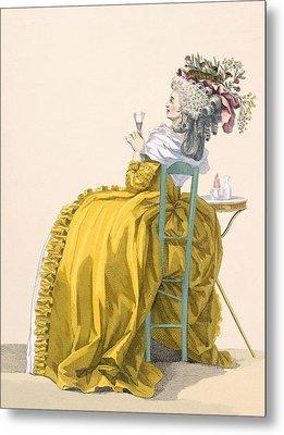 Lady Reclines On Chair Drinking Metal Print by Francois Louis Joseph Watteau