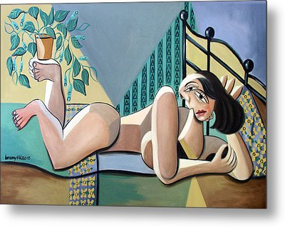 Lady With A Green Thumb Metal Print by Anthony Falbo