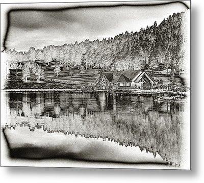 Lake House Reflection Metal Print by Ron White