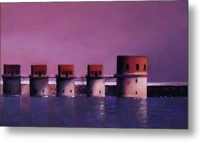 Lake Murray Towers In Evening Metal Print by Blue Sky