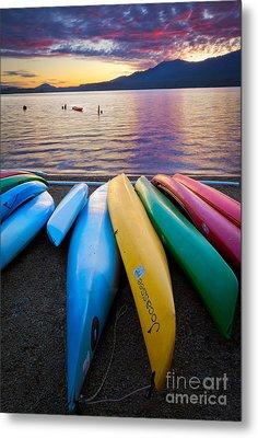 Lake Quinault Kayaks Metal Print by Inge Johnsson