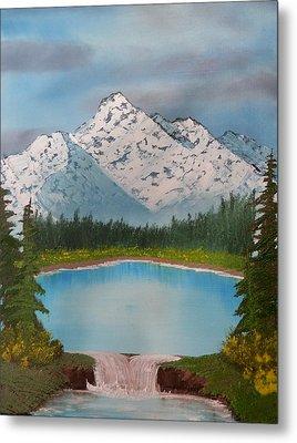 Lakeside Waterfall Metal Print by Jared Swanson