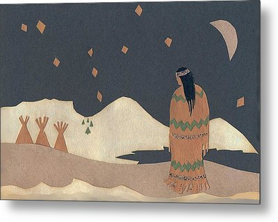 Lakota Woman With Winter Constellations Metal Print by Dawn Senior-Trask