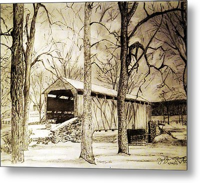 Lancaster Covered Bridge In Winter Metal Print by Jose A Gonzalez Jr