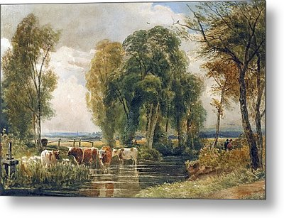 Landscape Cattle In A Stream With Sluice Gate Metal Print by Peter de Wint