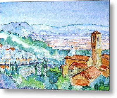 Tuscany Valley  Medieval Village Of Massa Metal Print by Trudi Doyle