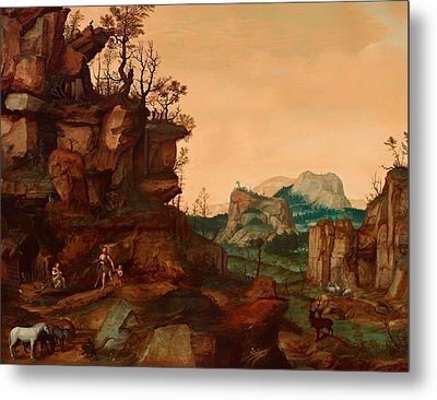 Landscape With Adam And Eve Metal Print by Mountain Dreams