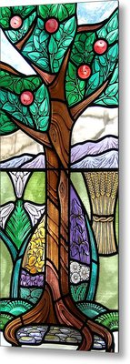 Landscape With Flora Metal Print by Gilroy Stained Glass