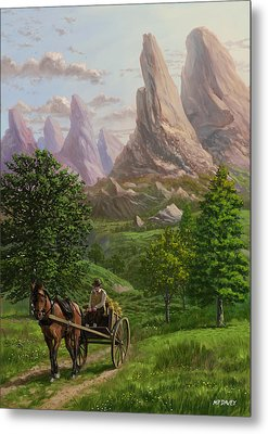 Landscape With Man Driving Horse And Cart Metal Print by Martin Davey