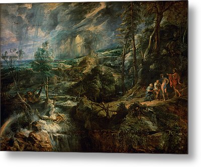 Landscape With Philemon And Baucis C.1625 Oil On Panel Metal Print by Peter Paul Rubens