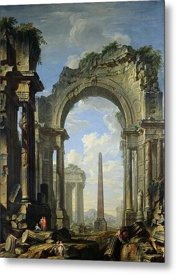 Landscape With Ruins Metal Print by Giovanni Niccolo Servandoni