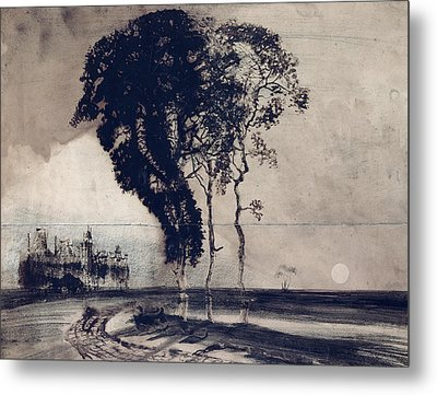 Landscape With Three Trees Metal Print by Victor Hugo