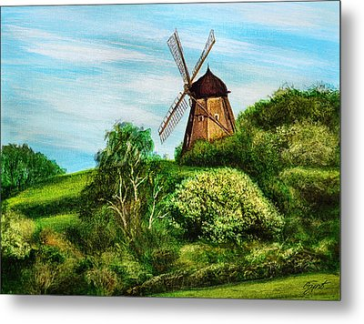 Landscape With Windmill Metal Print by Gynt Art