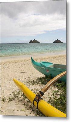 Lanikai Beach Outrigger 2 - Oahu Hawaii Metal Print by Brian Harig