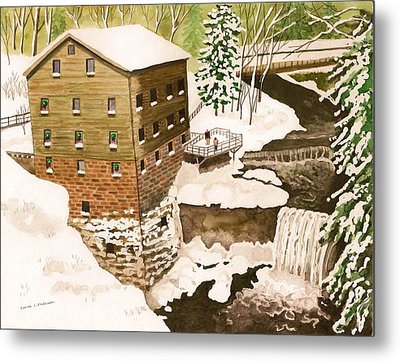 Lantermans Mill In Winter - Mill Creek Park Metal Print by Laurie Anderson