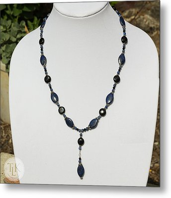Lapis Lazuli And Black Onyx Lariat Necklace 3675 Metal Print by Teresa Mucha