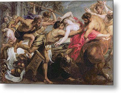 Lapiths And Centaurs Oil On Canvas Metal Print by Peter Paul Rubens