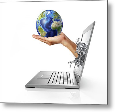 Laptop With Hand Holding Globe Metal Print by Leonello Calvetti