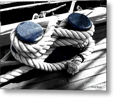 Large Dock Cleat Metal Print by Cheryl Young