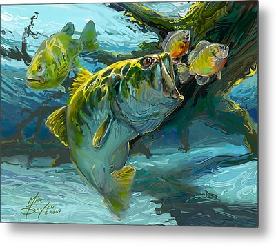Large Mouth Bass And Blue Gills Metal Print by Savlen Art