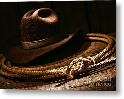 Lariat And Hat Metal Print by Olivier Le Queinec