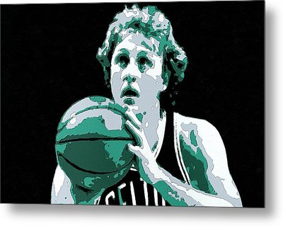 Larry Bird Poster Art Metal Print by Florian Rodarte