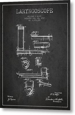 Laryngoscope Patent From 1937  - Dark Metal Print by Aged Pixel