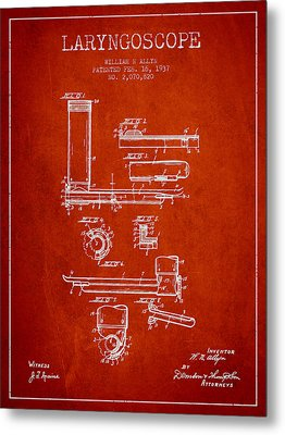 Laryngoscope Patent From 1937  - Red Metal Print by Aged Pixel