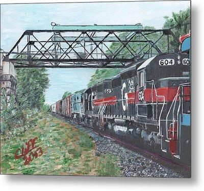 Last Train Under The Bridge Metal Print by Cliff Wilson