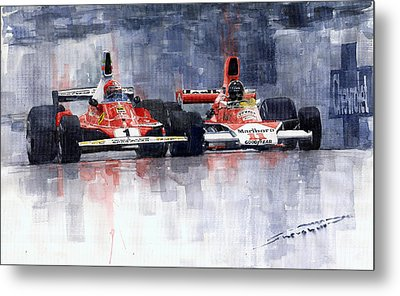 Lauda Vs Hunt Brazilian Gp 1976 Metal Print by Yuriy Shevchuk