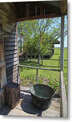 Laura Plantation Slaves Porch Metal Print by Joseph Semary