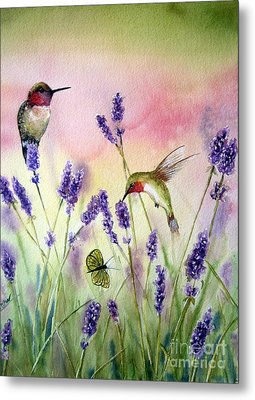 Lavender And Hummingbirds Metal Print by Patricia Pushaw