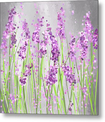 Lavender Blossoms - Lavender Field Painting Metal Print by Lourry Legarde