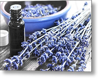 Lavender Herb And Essential Oil Metal Print by Elena Elisseeva