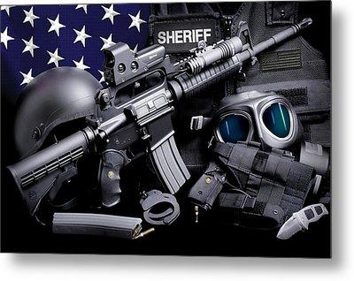 Law Enforcement Tactical Sheriff Metal Print by Gary Yost