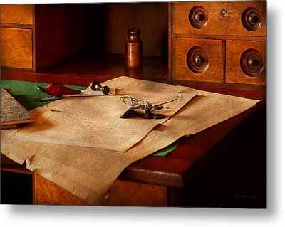 Lawyer - Optician - Reading The Fine Print  Metal Print by Mike Savad