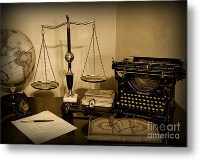 Lawyer - The Lawyer's Desk In Black And White Metal Print by Paul Ward