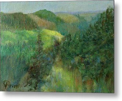 Layers Of Mountain Ranges Colorful Original Landscape Oil Painting Metal Print by K Joann Russell