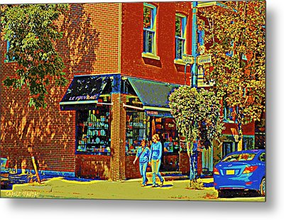 Le Fouvrac Foods Chocolates And Coffee Shop Corner Garnier And Laurier Montreal Street Scene Metal Print by Carole Spandau
