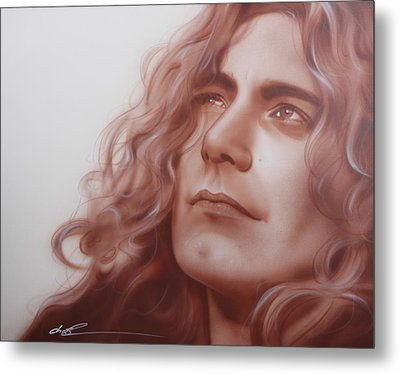 Robert Plant - ' Leaves Are Falling All Around ' Metal Print by Christian Chapman Art