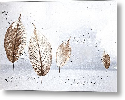 Leaves In Snow Metal Print by Carol Leigh