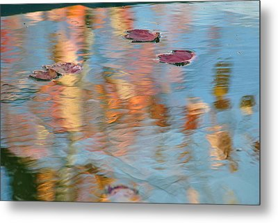 Leaves Real And Reflected Metal Print by Frozen in Time Fine Art Photography
