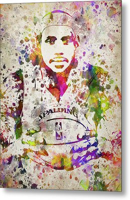 Lebron James In Color Metal Print by Aged Pixel