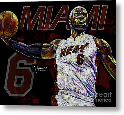 Lebron James Metal Print by Maria Arango