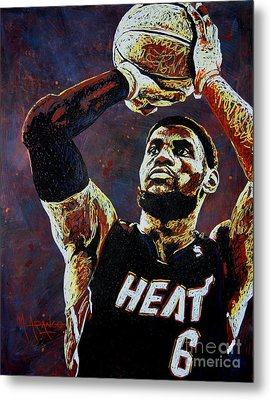 Lebron James Mvp Metal Print by Maria Arango