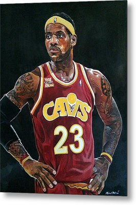 Lebron James Returns To The Cleveland Cavaliers Metal Print by Michael  Pattison