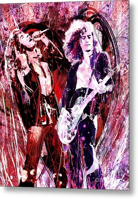 Led Zeppelin - Jimmy Page And Robert Plant Metal Print by Ryan Rock Artist