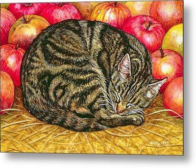 Left Hand Apple Cat Metal Print by Ditz