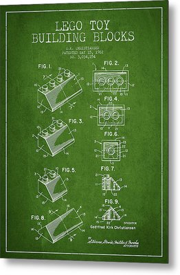 Lego Toy Building Blocks Patent - Green Metal Print by Aged Pixel